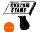 """CUSTOM Rubber Stamp - 1"""" x 2"""" - Logo, Business, Promotion Stamp 1x2"""
