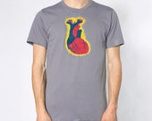 Attack Heart Tee - Mens Hand Stenciled Crew Neck Graphic T-Shirt in Slate Grey Blue Red and Yellow - XS S M L XL 2XL 3XL
