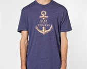 Stay the Course Nautical Anchor Tee - Mens Unisex Hand Stenciled Crew Neck Graphic T-Shirt in Heather Imperial - XS S M L XL 2XL