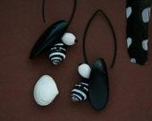 ethnic earrings with shells, wood and seeds - tribal jewelry - long dangle earrings - exotic