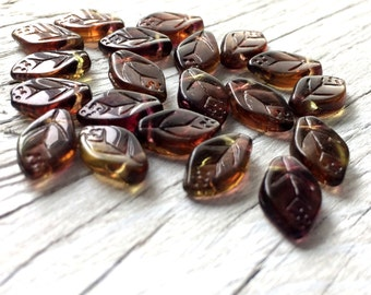 Leave beads, glass leave beads, Czech glass beads - Olive Amethyst 20