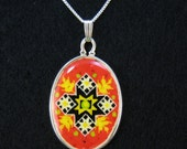 Cross Necklace harvest pysanky design ostrich egg shell and sterling silver jewelry