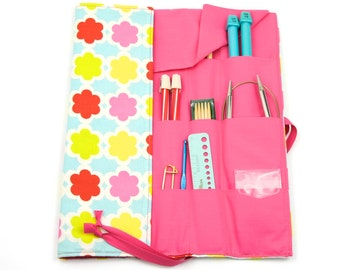Knitting Needle Case - Charmed - IN STOCK Large Organizer 30 pink pockets for all sizes - Limited Edition