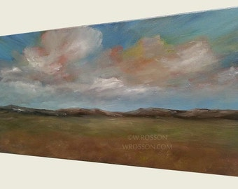 Prairie Sky, Original Painting, Landscape with clouds, Home Decor, Office Decor, Wall Art, Gift, Blue Skies, Clouds, Country, Rustic, 12x24