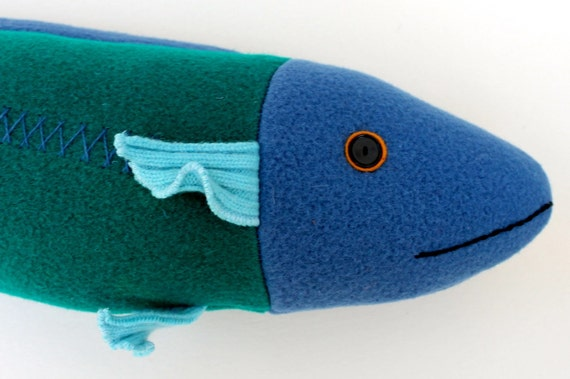 Bright green and blue wool fish pillow by mimikirchner on etsy for Fish body pillow