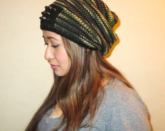 Studded Slouch Camo Beanie (Unisex) - Ready to Ship!