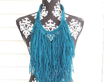 Teal Hand Crocheted Bohemian Statement Necklace Fringe Necklace Crochet Necklace