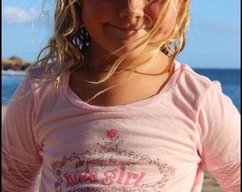The SALE Nancy Cutest Hula Girl burnout longsleeve GIRLS size 7 or 8 tshirt in PINK made in Hawaii by Happy Honu Maui