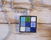 Mosaic Square Art Pendant with Chain in Shades of Blue