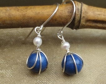 Small Lapis Lazuli and Fresh Water Pearl Earrings, Mother's Day Sterling Silver Wire Wrapped Beads Stone Earrings Little Lapis Jewelry Women