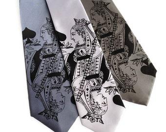 "Playing card necktie. Queen of Spades ""Poker Face"" tie. Screenprinted microfiber mens necktie. Black print."