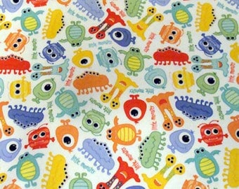 REMNANT PIECE - Dritz Babyville Boutique Monsters Printed Laminated PUL Waterproof Diaper Fabric  Free Shipping!