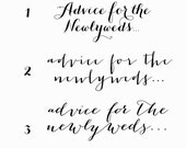 Advice for the Newlyweds - 3 styles