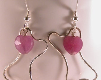 Hammered wire dogbone ruby heart earrings sterling silver