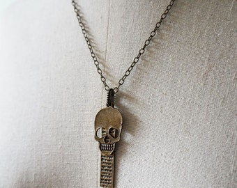 Skull Necklace, Art Jewelry , Mixed Media Jewelry, Antiqued Brass