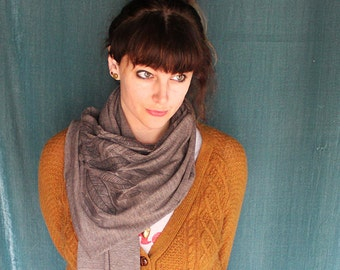 Screen Printed Jersey Scarf in Heather Brown with Chocolate Feathers