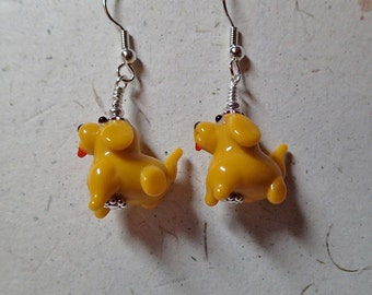 Yellow Glass Puppy Dog Earrings Silver What a  Yip Yap