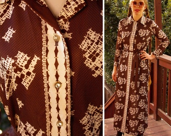 FLORAL Sampler 1960's 70's Vintage Brown & White MAXI Dress with Rhinestone Buttons // by Parkshire // size Small Med