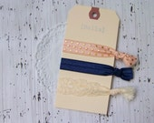 FOE Fold Over Elastic Hair Ties Ponytail Holders - Set of 3 - Pink Gold Dot, Navy, Ivory Lace - Classy & Feminine Hair Ties - Lace Hair Tie