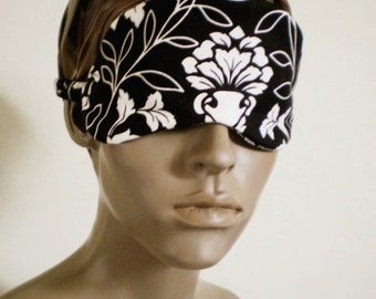 Japanese Damask Sleepmask Black And White Cotton Art Nouveau Style Handmade Deluxe Blindfold MADE TO ORDER