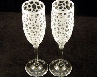 River Rocks - Champagne Flutes - Etched Glassware - Custom Made to Order