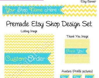 Sunny Etsy Cover Photo Set, Chevron Stripe Etsy Banner, Ribbon Etsy Banner, Yellow Etsy Banner, Stitch Shop Banner, Turquoise Banner