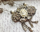 Reserved for Pam--Vintage Rhinestone Milk Glass Cameo Statement Necklace - One of a Kind - Snow Queen