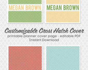 Customizable Cross Hatch Planner 8.5 x 11 in. Cover - editable PDF