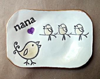 NANA Trinket  Dish 3 Birdies  Mothers day