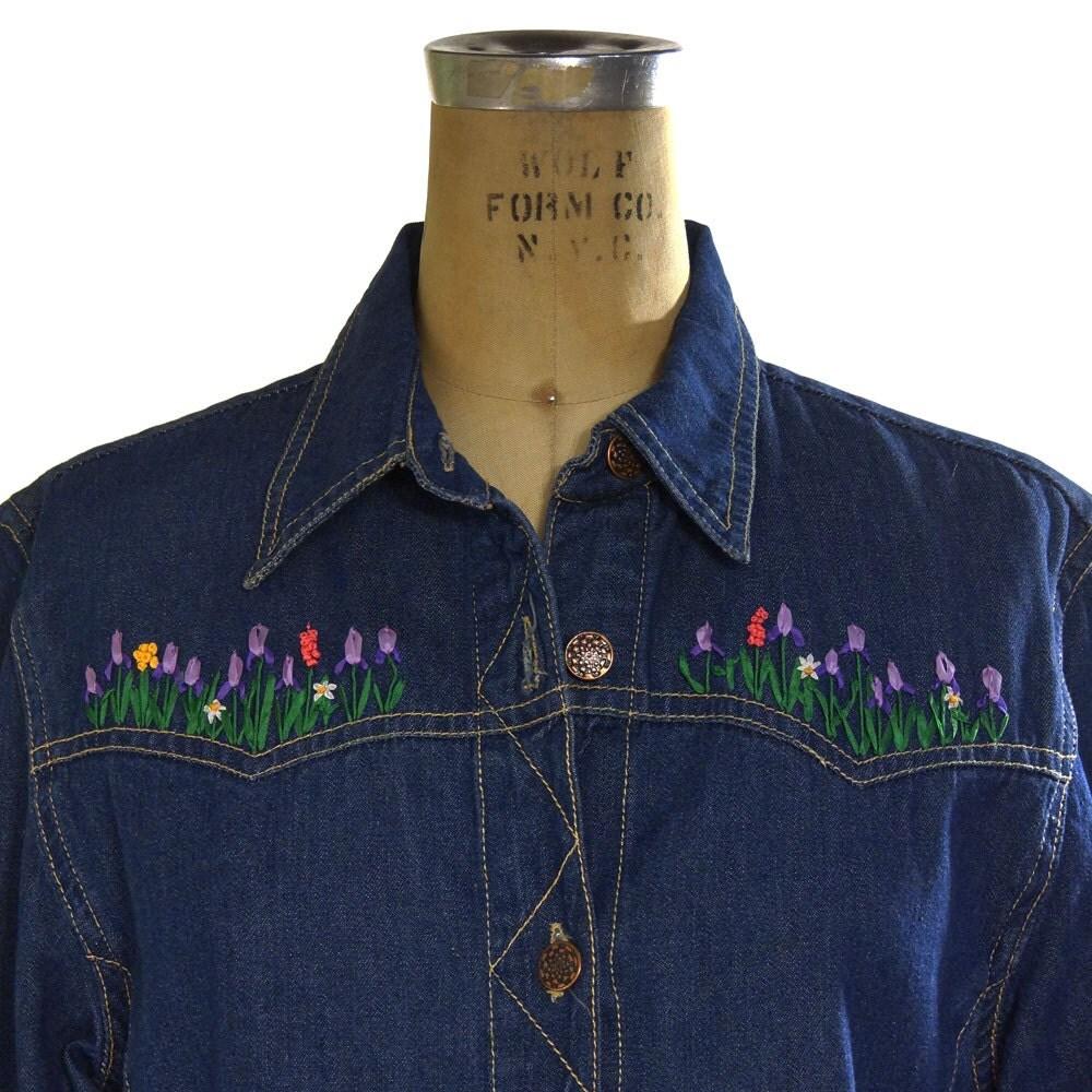 Sale embroidered denim jacket vintage s boho jean