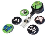 Lacrosse ID Badge Reel - Interchangeable Badge Holder for work, lacrosse coach, lax player, gym teacher, athlete, fan, sports gift