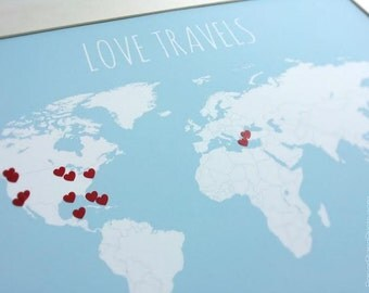 DIY Gift for Newlyweds, World Travel Map with Hearts, Traveler Gift, Valentines Day Gift, Keepsake Sentimental Gift, Travel Wall Decor 11x14