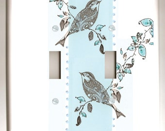 Black Bird  and Tree on Blue and White  - Double Toggle Decorative Light Switch Plate