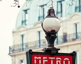 Dans Le Metro - Paris Photography, Vintage Paris Metro Sign, Red, Romantic Travel Photography