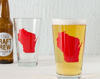 WISCONSIN pint glass RED Screen Printed single beer glasses