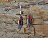 Floating Real Jewel Beetle Earrings, Cyphogastra javanica, similar to Moonrise Kingdom