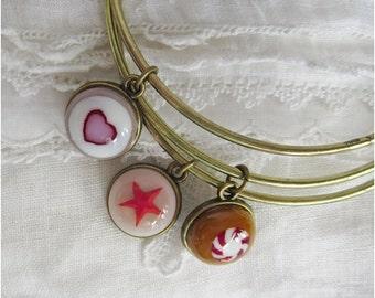 Bangles, Boho Chic Bangle Set, Fused Glass Bracelets, Stacking Bangles, Bohemian Gypsy Jewelry