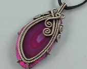 Rose Colored Agate Slice and Sterling Silver Necklace - CLEARANCE