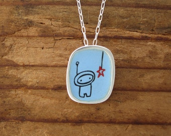 Star Chaser Necklace - Sterling Silver and Vitreous Enamel Alien Pendant or Astronaut Pendant