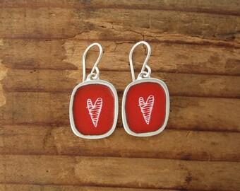 White and Red Heart Earrings - Vitreous Enamel and Sterling Silver Striped Heart Earrings