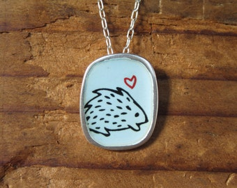 Hedgehog Necklace - Porcupine Pendant - Sky Blue Vitreous Enamel and Sterling Silver with Original Drawing