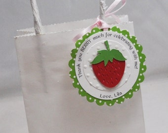 Strawberry Favor Tags- Set of 12- Girl 1st Birthday