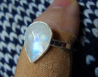 """Ring Rainbow Moonstone Tear - 1/2"""" pear  in solid eco-friendly recycled sterling silver - Custom Made in your Size"""