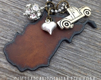 I Love West Virginia Necklace - Rustic Recycled Metal Pendant Pickup Truck Heart Charms Rhinestone