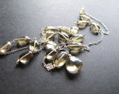 Lemon Quartz Rosary, Sterling Silver Long Layering Necklace, Yellow Gemstone Jewelry