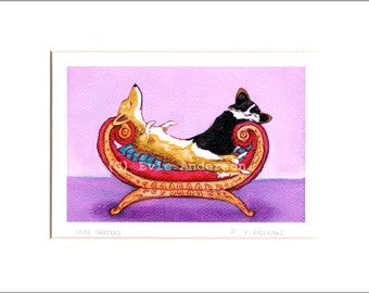 "Evie Anderson Pembroke Welsh Corgi Dog Art SIGNED PRINT ""Super Snoozers""  (signed, matted)"
