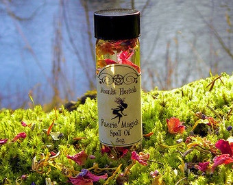 Faerie Magick Spell Oil - Faerie Sight,  Garden Blessing, Communing With Nature Spirits, Offering to the Fae, Glamoury, Wishes, Enchant