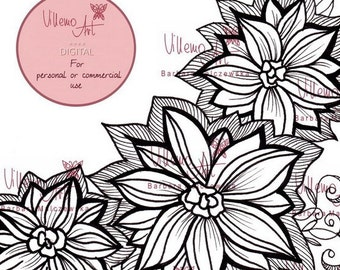 Digital stamp - Villemoart - FLORAL001 - Printable Floral Design