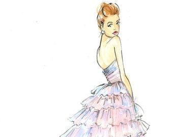 Fashion Illustration-Fashion Print-Suki Waterhouse-Burberry-Sketch-Fashion Illustrator-Brooke Hagel