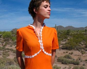 1970s Orange Empire Maxi Dress - Med - homemade doubleknit polyester 70s Empire Dress daisy trim short sleeve Vneck May Be Mini Dress